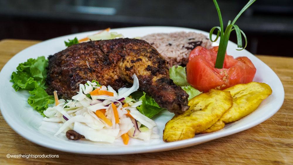 Jerk Chicken Dinner with Rice & Peas, Plantains & Salad