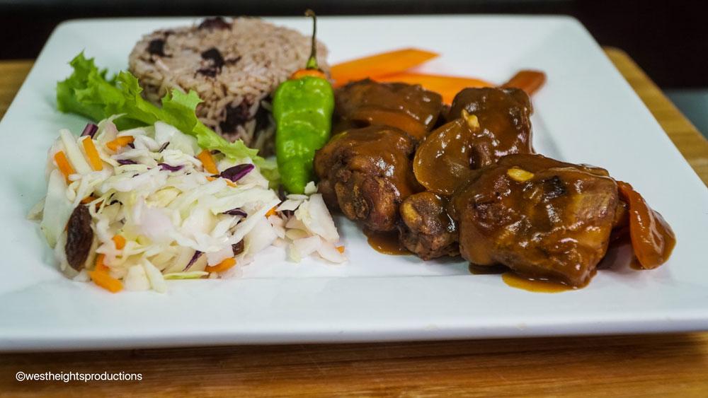 Stew Chicken Dinner with Rice & Peas & Salad